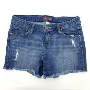 Refuge Blue Distressed Fray Cutoff Denim Shorts